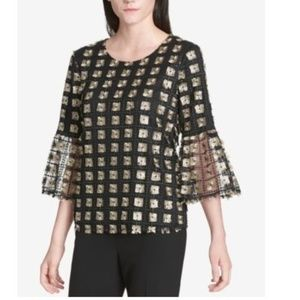 Calvin Klein Metallic Checkered Bell-Sleeve Top